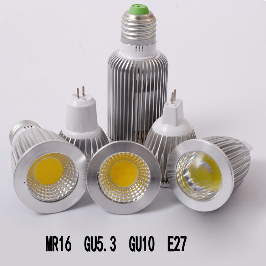 Dimmable Led Cob Spotlight E26 E27 Gu10 Gu5 3 Mr16 6w 9w: LED Bulb GU10 MR16 GU5.3 E27 COB Led Spot Light 6W 9W 10W