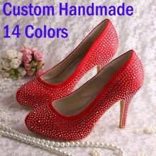 Wedopus Custom Heel Crystal Sandals Red Satin Shoes Woman High Heel Brand Size 7
