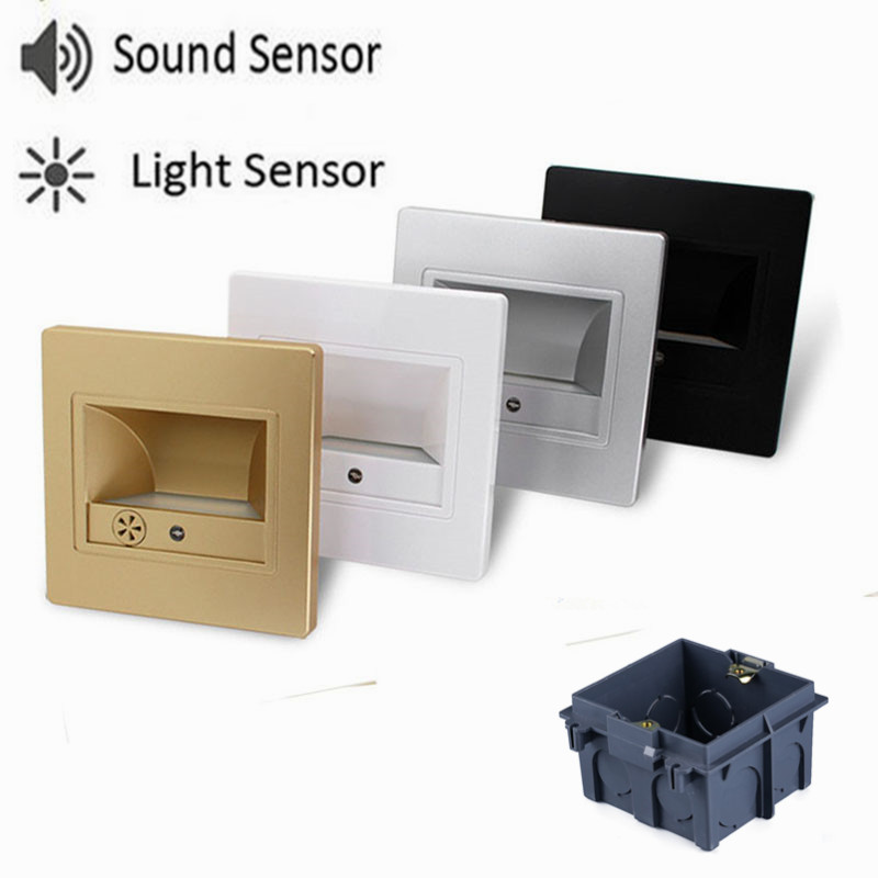 built-in night light into the wall - led stair light Sound  sensor+light sensor Night Lamp recessed in wall bulb for step ladder emergency night light with 86 box