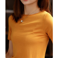 Spring and autumn cashmere sweater female round neck knit thin section curling short sleeve 2019 casual slim short sleeve B220