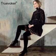 Truevokerยุโรปรันเวย์Designer Vocationรีสอร์ทผู้หญิงแขนยาวเย็บปักถักร้อยHollow OUTเซ็กซี่ปาร์ตี้คลับVestidos