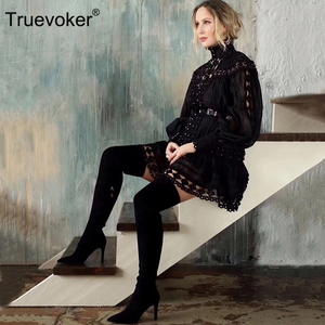 Image 1 - Truevokerยุโรปรันเวย์Designer Vocationรีสอร์ทผู้หญิงแขนยาวเย็บปักถักร้อยHollow OUTเซ็กซี่ปาร์ตี้คลับVestidos