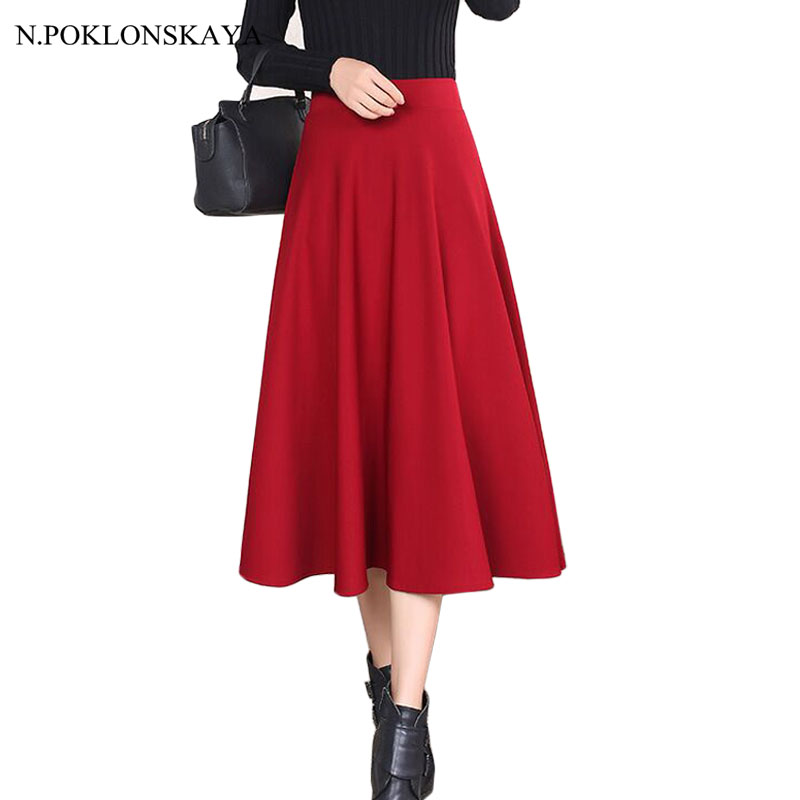2018 Spring Elastic High Waist Skirt Long Pleated Red Black Women Vintage A Line Faldas Jupe Longue Casual Ball Gown Skirts C561