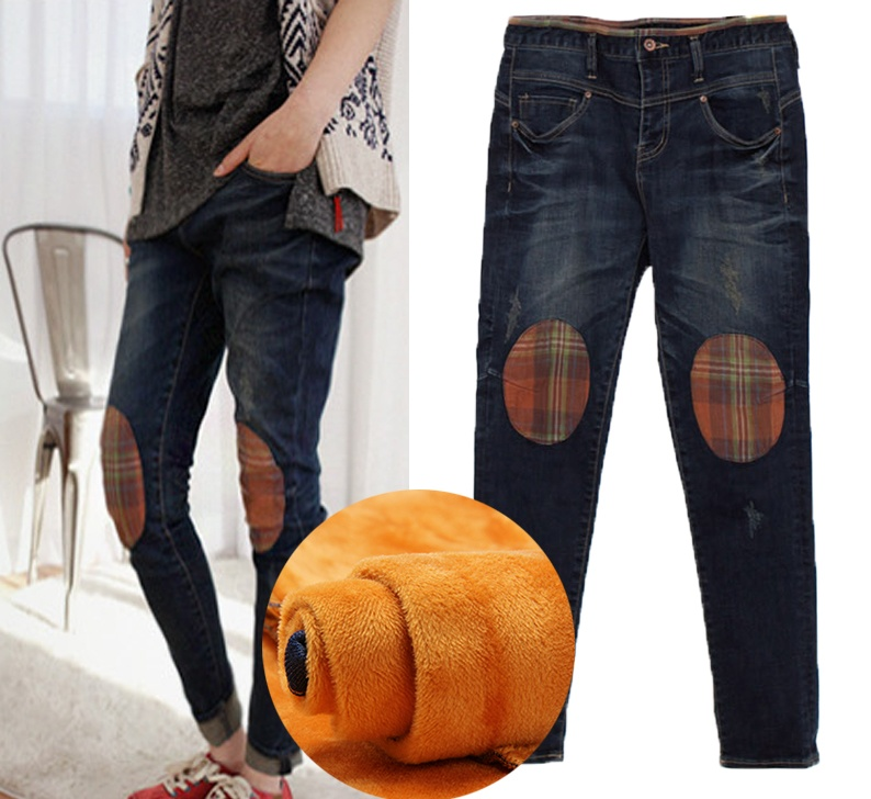 ФОТО 5xl plus big size denim jeans panty women spring autumn winter 2016 velvet new thickening stitch denim cowboy pants female A2204