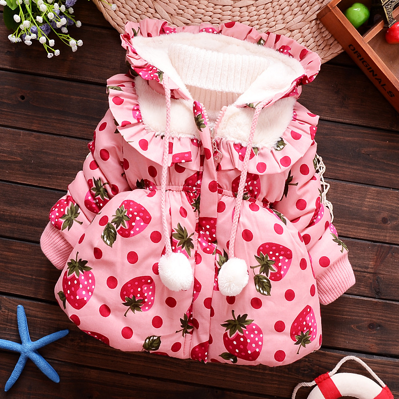 free shipping children and girls cashmere coat jacket female baby winter jacket thick cotton 0-3 years old children
