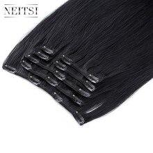 """Прямые волосы Neitsi, сделанные в машине, Remy, на заколках, на всю голову, человеческие волосы для наращивания 2"""" 24"""" 100 г, 7 шт., 16 клипов, 10 цветов"""