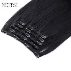 """Neitsi прямые искусственные волосы одинаковой направленности клип на Волосы Full Head 100% пряди человеческих волос для наращивания 20 """"24"""" 100 г 7 шт. 16"""