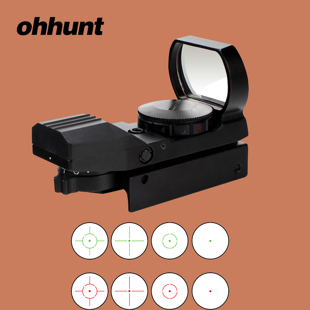 ohhunt Jacht Holografische Red Dot Sight Reflex 4 Richtkruis Optiek Richtkijker Rood Groen Verlichte tactische pistoolaccessoires