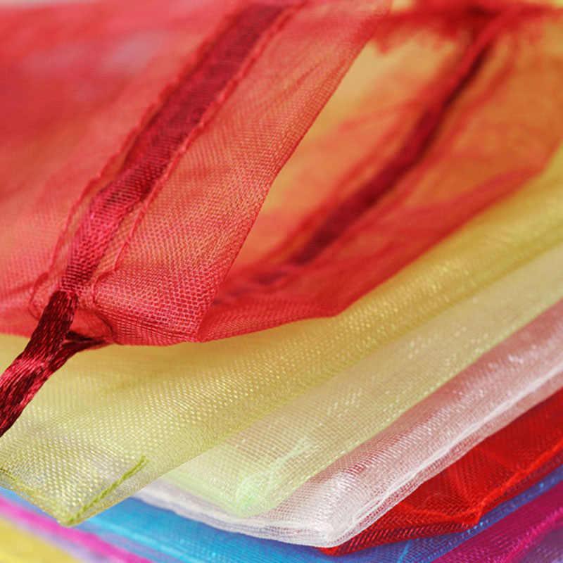 RE 100 pz 22 Colori 7x9 9x12 cm 10x15 13x18 cm di Nozze regalo di natale Drawable Organza Sacchetti di Imballaggio Dei Monili di Visualizzazione e Borse multiuso 13