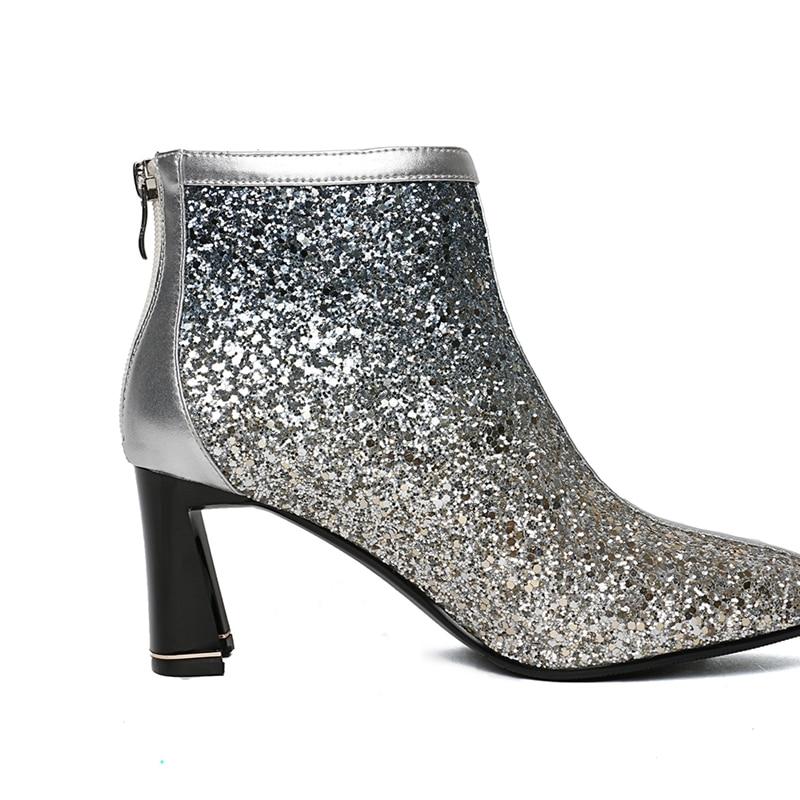 Bolso Pie Alto Invierno Mujer Mujeres Enmayer Zapatos Cr1904 Botas Hebilla Con Puntiagudo silver Para Fino Otoño Dedo Las Black De E Del Tobillo Tacón dqxpAwx8