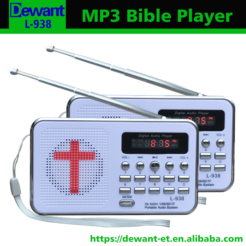 US $15 99 |Free shipping L 938 MP3 audio Bible player speaker support TF/SD  card USB flash drive audio input earphone output and FM radio-in Portable