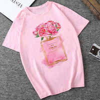 CZCCWD Summer 2019 Woman New Thin Section T Shirt Harajuku Fashion Flower Perfume Printed Tshirt Leisure Hipster Female T-shirt