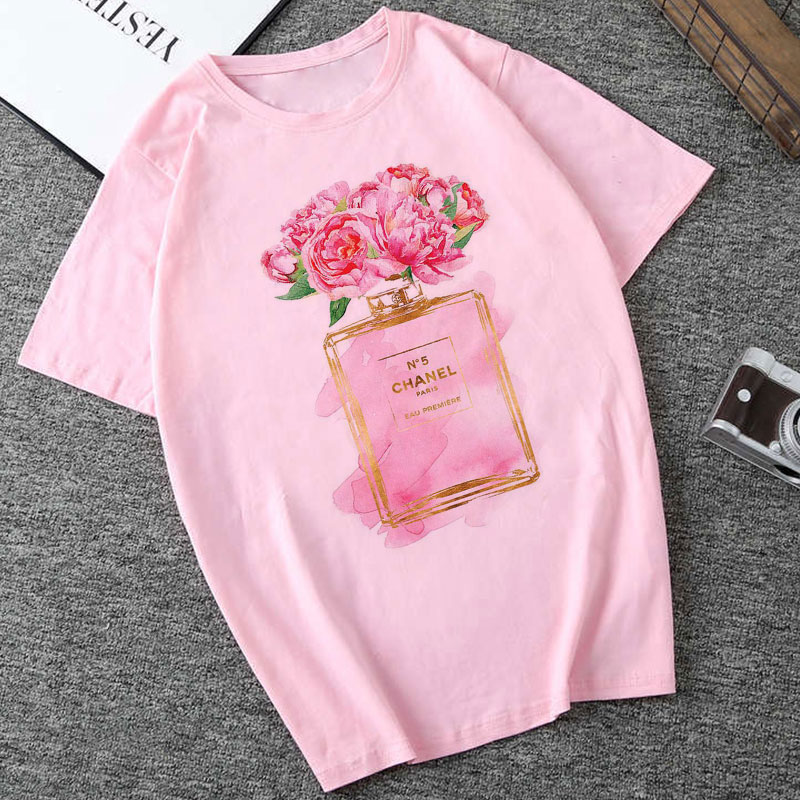 CZCCWD Summer 2019 Woman New Thin Section   T     Shirt   Harajuku Fashion Flower Perfume Printed Tshirt Leisure Hipster Female   T  -  shirt