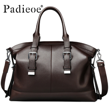 Padieoe Luxury Vintage Design Men's Briefcase Casual tote Bag Genuine Leather Business Shoulder Bag Office Bags Durable Handbags