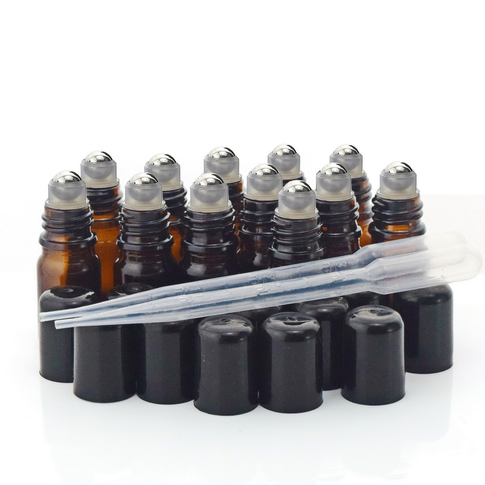 12 X 5ml Amber Glass Roll On Bottle Vials With Stainless Steel Roller Ball Black Cap Lid For Perfume Essential Oils Aromatherapy