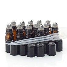 향수 에센셜 오일에 대 한 스테인레스 스틸 롤러 볼 검은 뚜껑 병 병에 12pcs 5ml 앰버 유리 롤 아로마 테라피