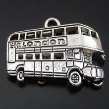 12PCS Antique Silver Alloy London Bus Charm Pendant Jewelry Making 12*24*4mm 50097(China)