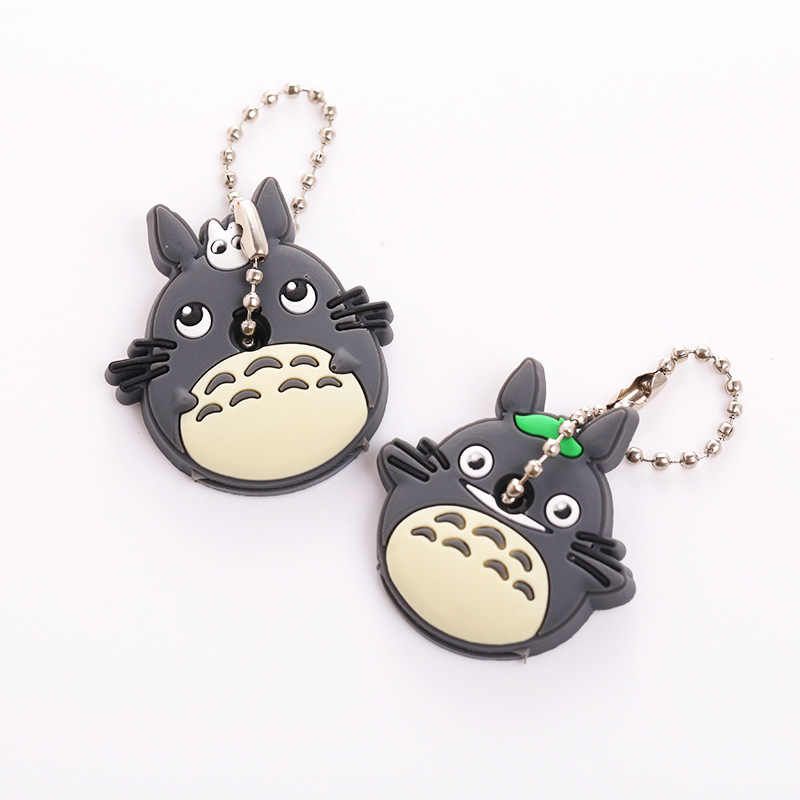 Pçs/set 2 Chaveiro Engraçado Dos Desenhos Animados do Silicone Tampa Chave Saco Das Mulheres Olá Kitty Totoro Anime Chaveiros Animal Bonito Chave Tampas de Cobertura