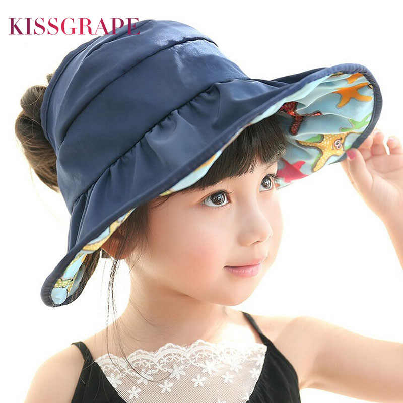 d96a4dae4294b AB Side 2018 Summer Girls Sun Hats Korean Children s Beach Caps Kids  Flodable Caps with Wide