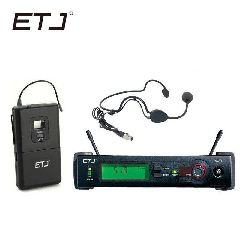 ETJ Brand Professional UHF Wireless Dual Microphone System SLX14 Black Headset Microphone SLX Bodypack etj brand wireless vhf changable handheld bodypack headset lavalier microphone dual wireless microphone u 201