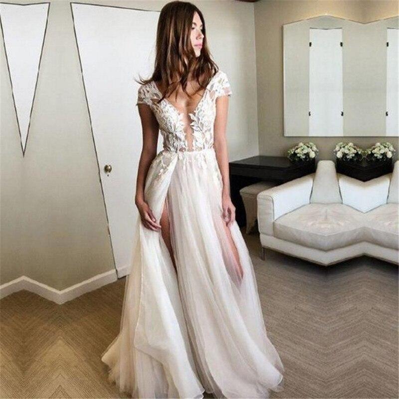 Gorgeous Deep V Neck Cap Sleeve Wedding Dresses 2019 Appliques Lace Bridal Gowns Sexy Split Tulle Vestido De Noiva Backless