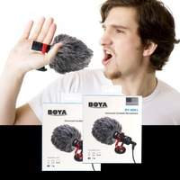 BOYA BY MM1 cardioid microphone lapel For DSLR cameras Consumer Camcorders Built in microphone windshield included