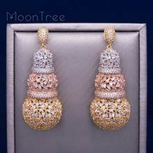 MoonTree 68 milímetros Cabaça Design de Luxo Completa Micro Zircônia Cúbica Africano Vestido da Festa de Noivado Brinco Moda Jóias para As Mulheres