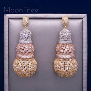 Image 1 - MoonTree 68mm דלעת יוקרה עיצוב מלא מיקרו מעוקב Zirconia אפריקאי אירוסין מסיבת שמלת עגיל תכשיטים לנשים