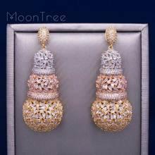MoonTree 68mm gurda luksusowy projekt pełna Micro cyrkonia afryki zaręczyny sukienka na imprezę kolczyki moda biżuteria dla kobiet
