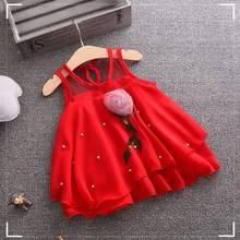 Модная одежда для малышей для новорожденных милый комплект одежды для маленьких девочек без рукавов; блуза с длинными рукавами футболка с цветочным принтом; сезон Лето Топы