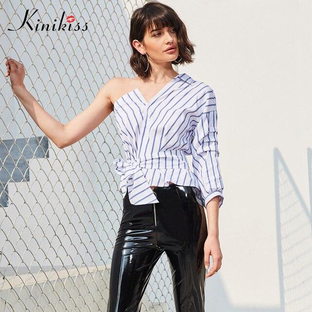 f763e22ccc63d Kinikiss Women One Shoulder Shirts Tops Sexy Blue Stripe Causal Bow Tie  Blouse Summer Spring Lady Fashion Asymmetric Tops Shirts