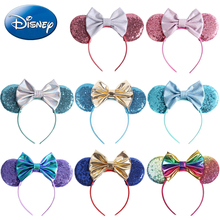 Disney Headband Girls Ears Hairband 2019 New Summer Kids Women Sequin Bow Headdress Minnie Headbands DIY Hair-Accessories