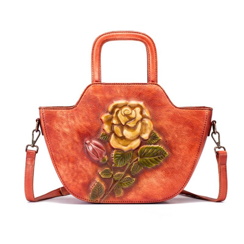 Bolso de cuero genuino bolso de mano de cuerpo cruzado Color brocha patrón de rosa de alta calidad mujeres hombro mensajero Top ASA bolsos-in Cubos from Maletas y bolsas    3