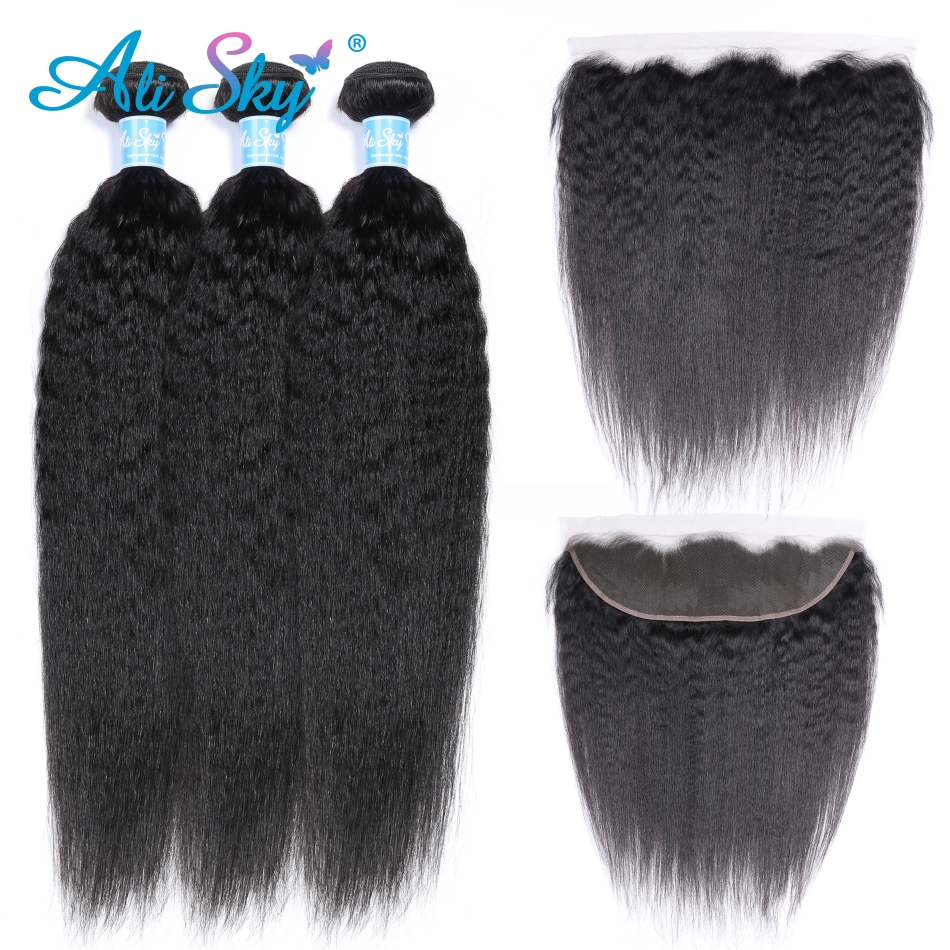 Alisky Hair Peruvian Kinky Straight Ear To Ear Lace Frontal Closure With Bundles Human Hair 3 Bundles With Closure Frontal Remy