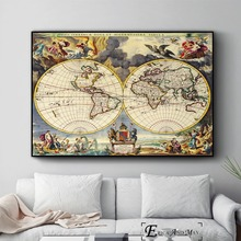 Old World Map Artwork Vintage Posters and Prints Wall art Decorative Picture Canvas Painting For Living Room Home Decor Unframed predator movie figure artwork posters and prints wall art decorative picture canvas painting for living room home decor unframed