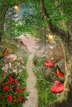 Laeacco Fairy Tale Forest Photography Backdrops Children Backgrounds Photo Studio Mushrooms Elves Flowers Background
