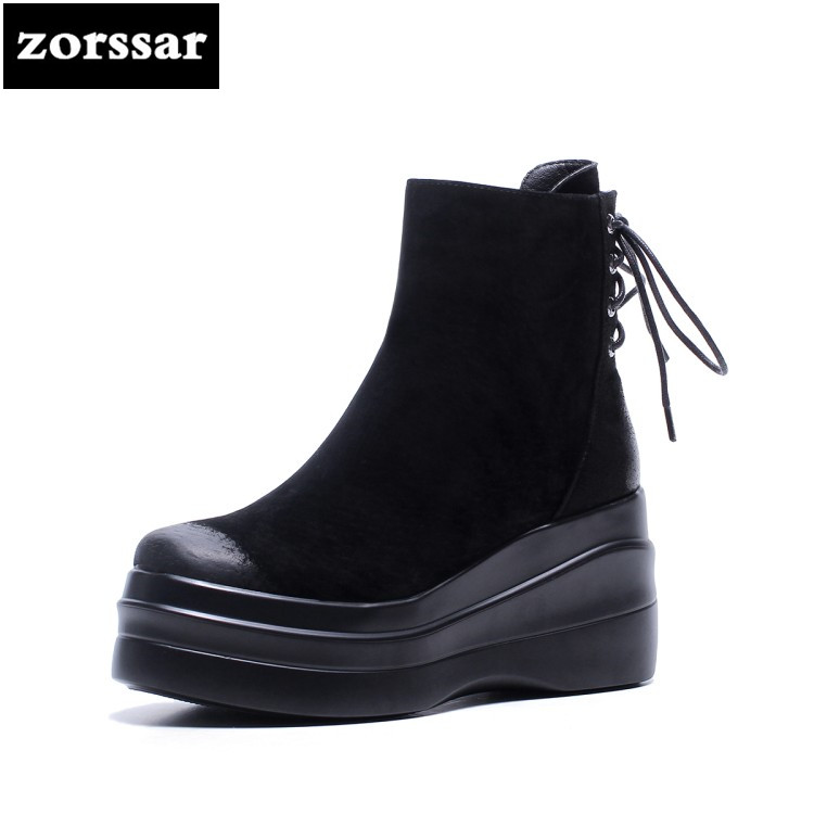 {Zorssar} 2018 New arrival fashion Suede Women Snow Boots Women Ankle Boots with heels platform shoes winter Warm woman shoes tcart 1set car led daytime running lights drl auto led white yellow fog lamps with yellow turn signals for ford ranger 2015 2016