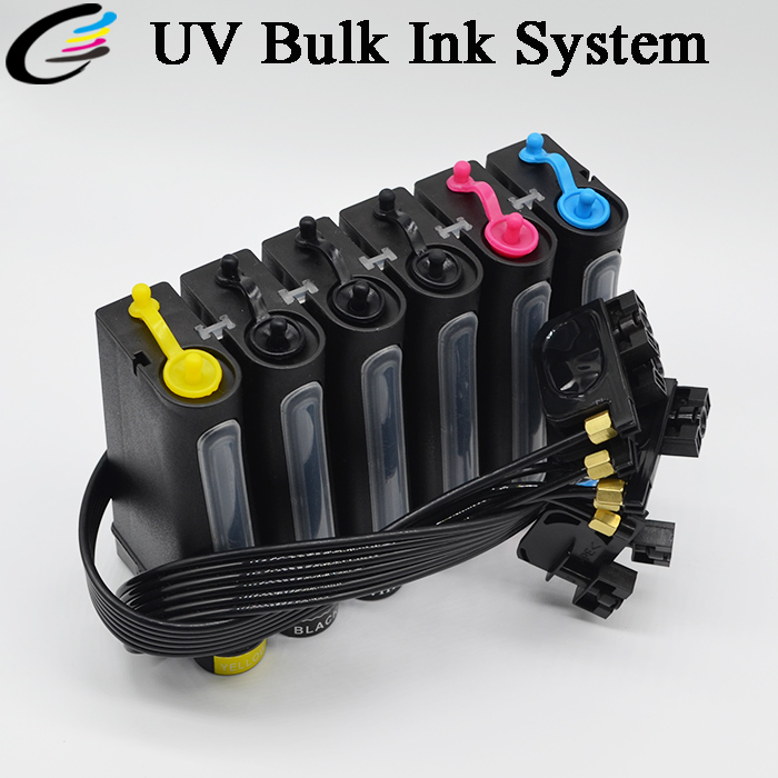 UV bulk ink system for Epson L800 L805 R230 r270 R290 1390 R330 printer UV ciss 500ml 6bottles set led flexible uv ink for epson r280 r290 r330 l800 1390 1400 uv printer dx5 dx7 uv led ink bk c m y 2white