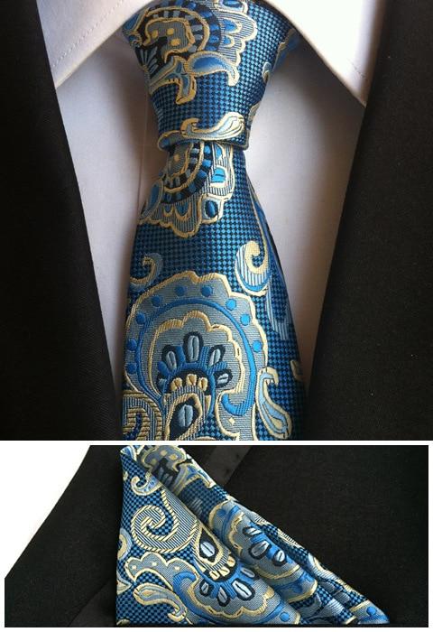 Джентльменские галстуки Набор 8 см строгий галстук классический синий галстук с ярким узором с костюмами носовой платок
