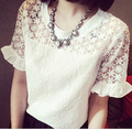 Summer Women's 2015 Cutout Crochet Ruffle Lace Shirt Female Elegant Short-Sleeve White Top Ladies Blouse