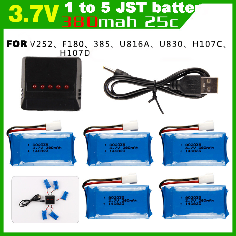 380MAH 3.7V Lipo Battery with 5pcs in JST 1 to 5 Battery Charger for Hubsan H107L H107C H107D V252 F180 U816A U830 RC Quadcopter