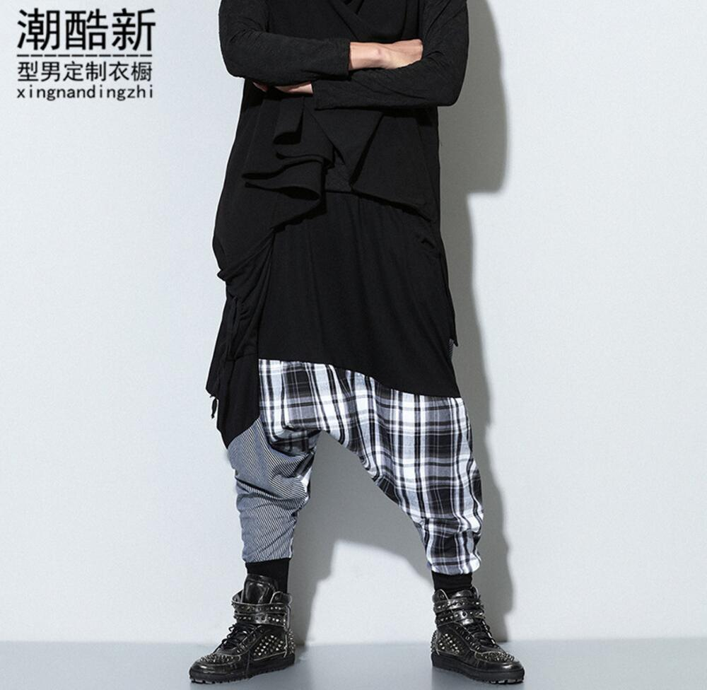 Male personality black Grid splicing harem pants fashion casual pants trousers Low crotch slacks singers dancers pant !