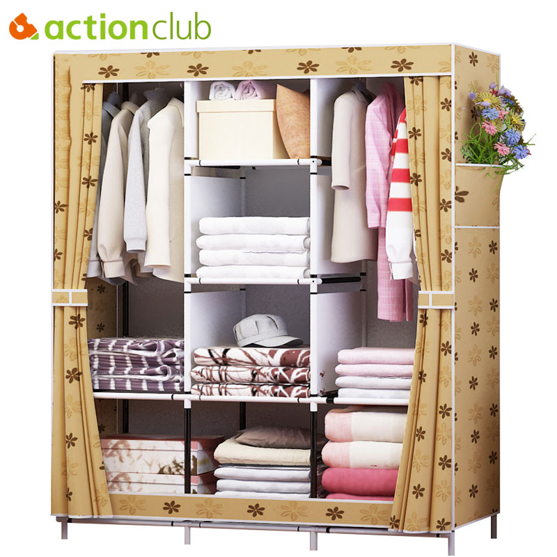 Actionclub Fabric Oxford Cloth Wardrobe Closet DIY Assembly Multifunction Large Wardrobe Folding Portable Cabinet Home FurnitureActionclub Fabric Oxford Cloth Wardrobe Closet DIY Assembly Multifunction Large Wardrobe Folding Portable Cabinet Home Furniture