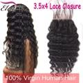 7A Brazilian Deep Wave Lace Closure Free Middle 3 Part Deep Wave Lace Closure Brazilian Virgin Hair Lace Closure Bleached Knots