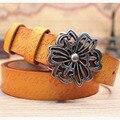 2016 Mujeres de la Marca de Moda de Lujo Forma de Flor Hebilla de Cinturones Anchos Elásticos de Impresión de Cuero Genuino Longitud 100 ~ 120 cm Al Por Mayor