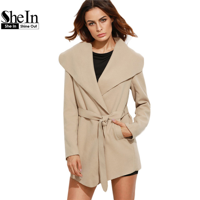 SheIn Winter Coat Women Long Sleeve Womens Coats and Outwear Camel Oversized Drape Collar Wrap Elegant Belted Coat