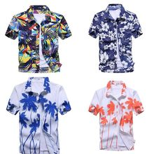 Hawaiian Mens Shirt Summer Floral Printed Beach Short Sleeve Tops Chemise Homme Coconut Palm Prints