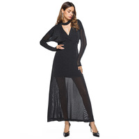 Thiết kế Áo 2017 Dài Tay Sâu V Maxi Dress Chất Lượng Cao Net Phụ Nữ Sợi club Dress Bán Buôn Năm Mới Dresses For Girls