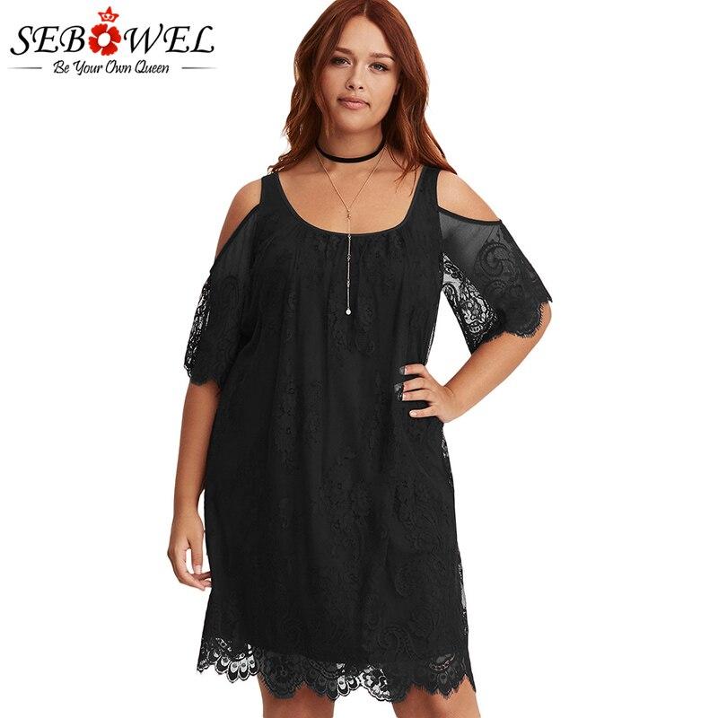 SEBOWEL Sexy Black Plus Size Lace Off Shoulder Dress Women Big Burgundy White Night Club Half Sleeve Party