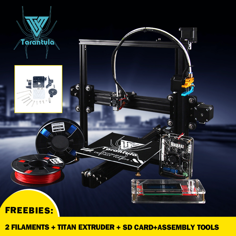 2017 Newest TEVO Tarantula TEVO 3D Printer 3D Printer DIY kit impresora 3d printer & 2 Filaments Titan Extruder SD Card I3 3D hot sale wanhao d4s 3d printer dual extruder with multicolor material in high precision with lcd and free filaments sd card